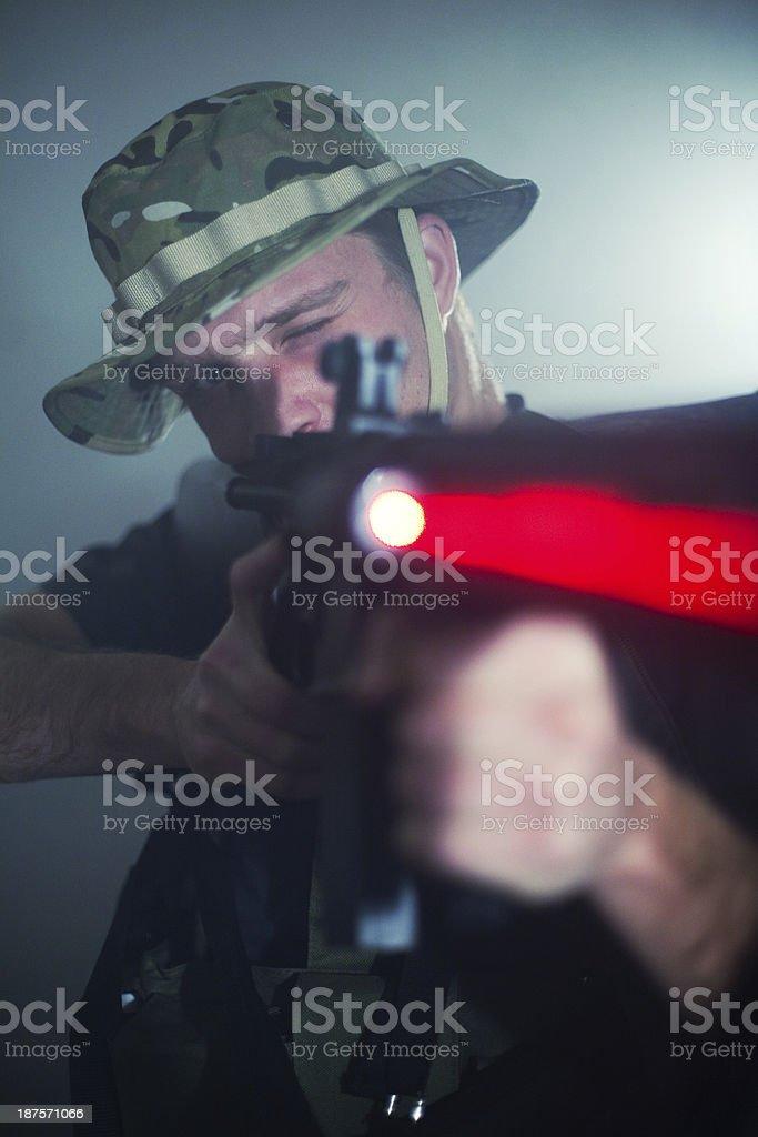 Sniper with laser gun royalty-free stock photo