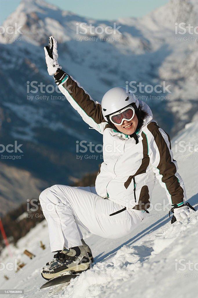 Snoboard girl riding royalty-free stock photo