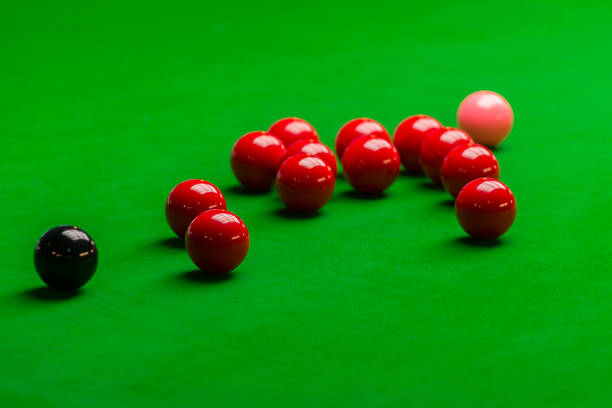 Snooker ball on snooker table, Snooker or Pool game on green table, International sport stock photo