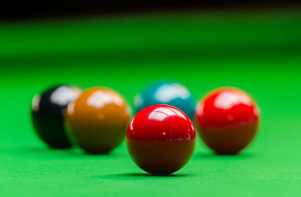 snooker ball on the green snooker table at snooker club stock photo