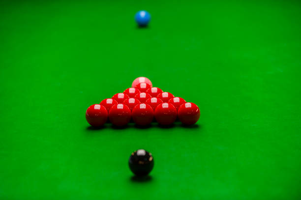 snooker ball on the green snooker table stock photo