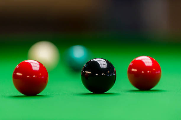 Snooker balls on the table at snooker club stock photo