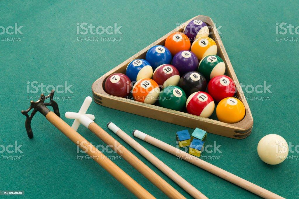 Snooker billards pool balls, cue, chalk on green table stock photo