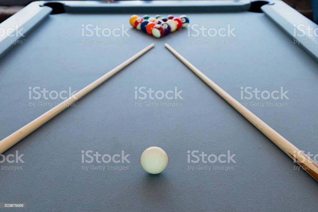Snooker billiard pool table with balls set, selective focus stock photo