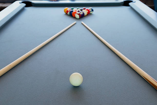 snooker billiard pool table with balls set, selective focus - pool cue stock photos and pictures
