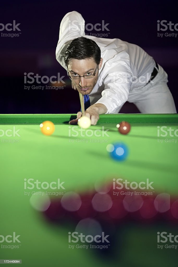 snooker  player behind the cue target ball royalty-free stock photo