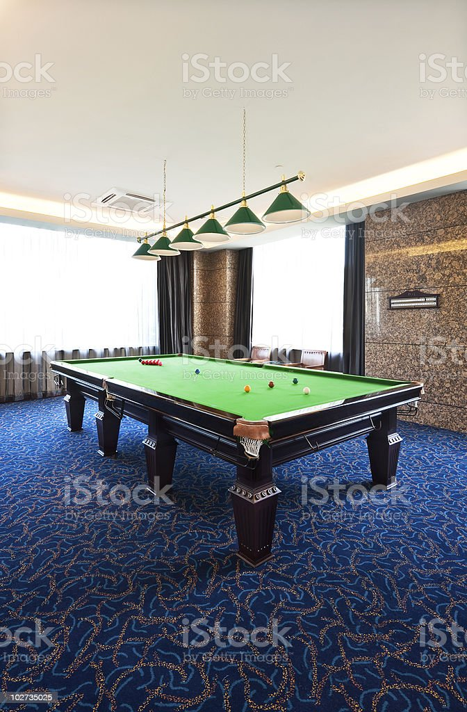 Snooker table in the room. stock photo