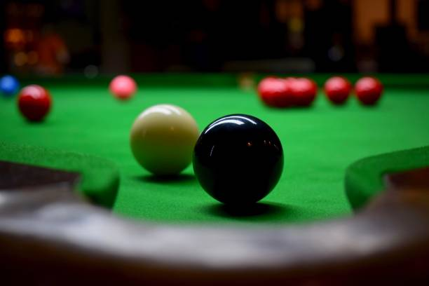 Snooker table with balls stock photo