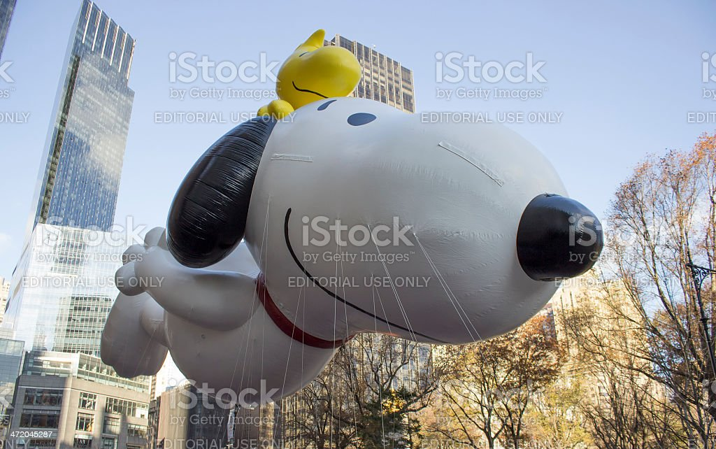 Snoopy with Woodstock in 2013 Macy's Day Parade stock photo