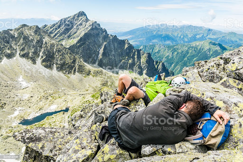 Snooze in the mountains. stock photo