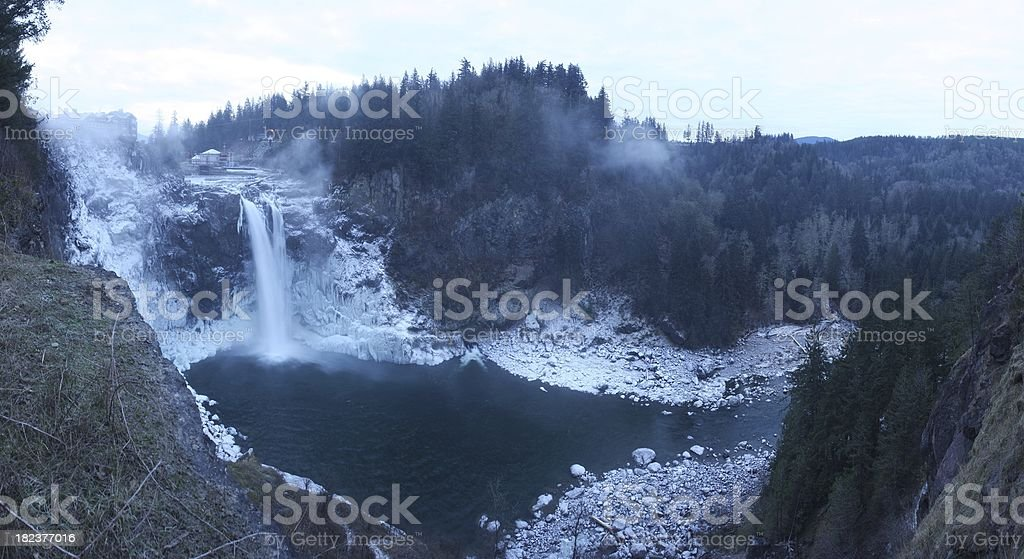 Snoqualmie Falls Frozen Panorama royalty-free stock photo