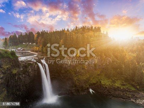 Snoqualmie Falls in fall, WA, USA.