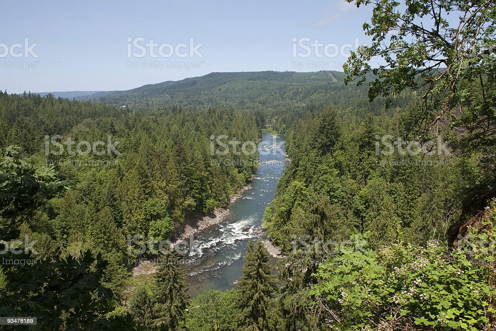Snoqualmie River, Washington Aerial View stock photo