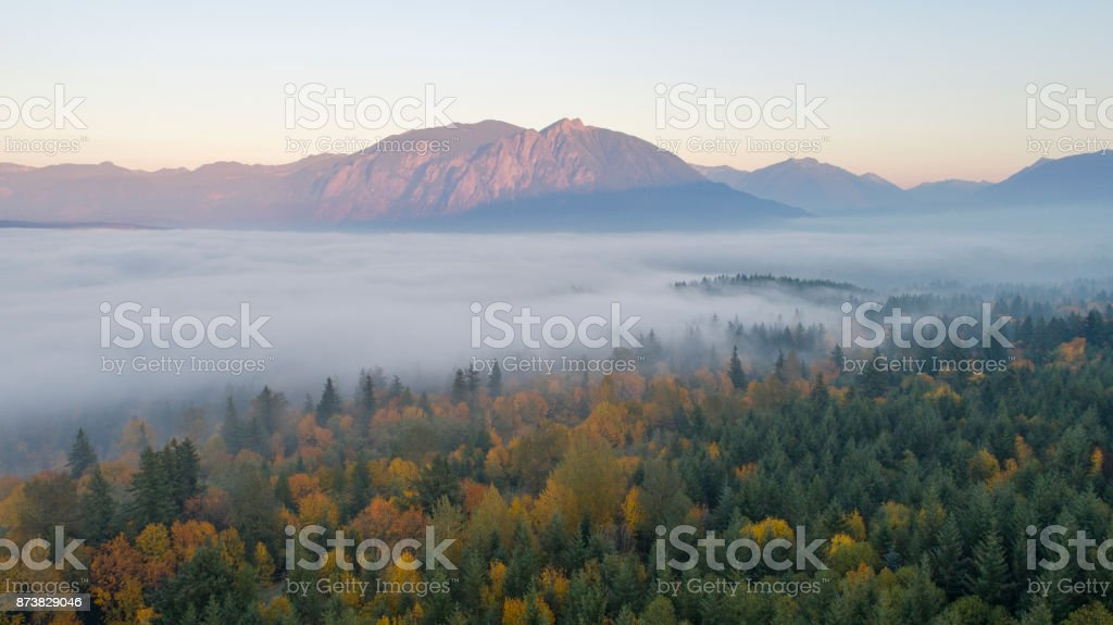 Snoqualmie Valley, Washington Autumn Pacific Northwest Forest Landscape Foggy Cloud Cover Mount Si stock photo