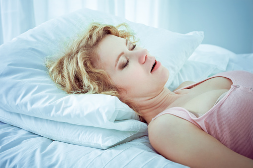 Snoring Woman Stock Photo - Download Image Now