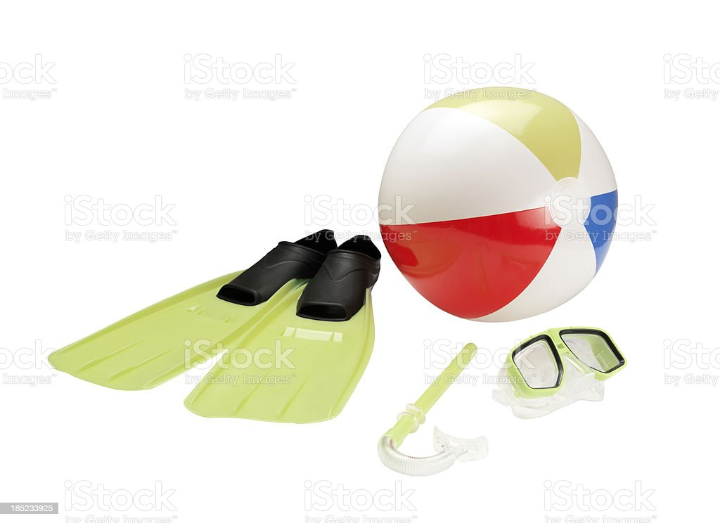 Snorkel, Beach Ball And Flippers stock photo