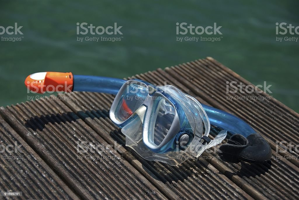 Snorkel mask and pipe stock photo
