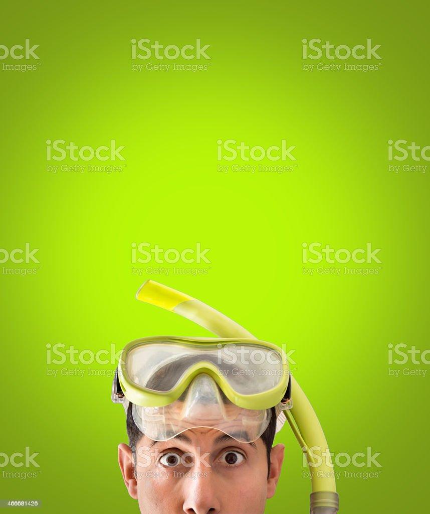 snorkel mask looks surprised stock photo