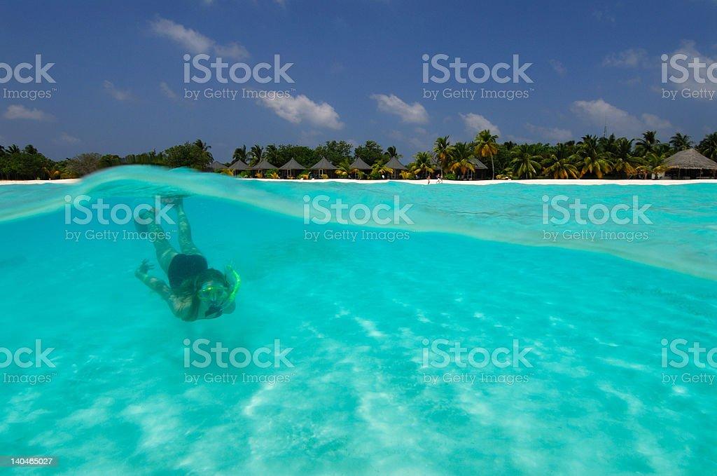 Snorkeler underwater stock photo