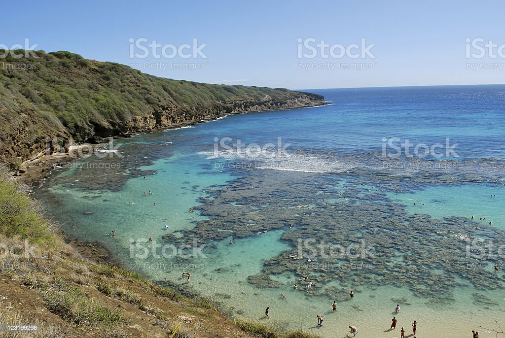 Snorkeling  at Hanauma Bay, Hawaii royalty-free stock photo
