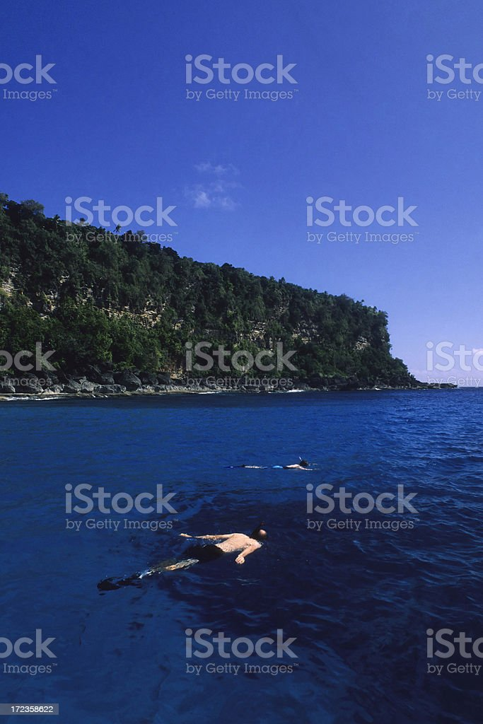 Snorkeling In Blue Water royalty-free stock photo