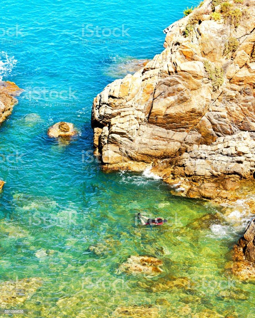 Snorkeling in Mediterranean Sea stock photo