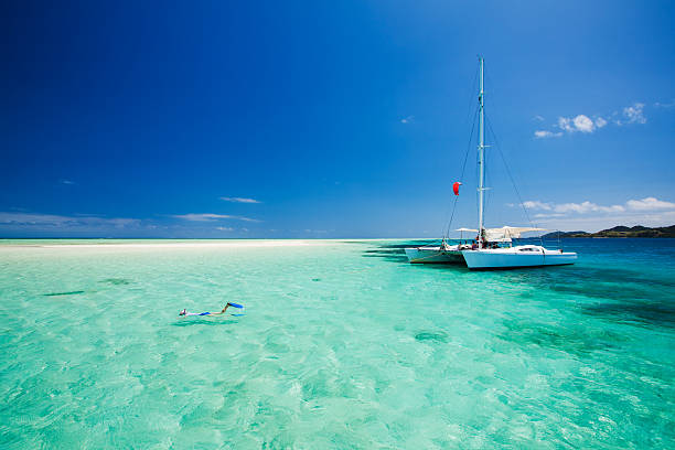 snorkeling in shallow water off the catamaran - fiji stock photos and pictures