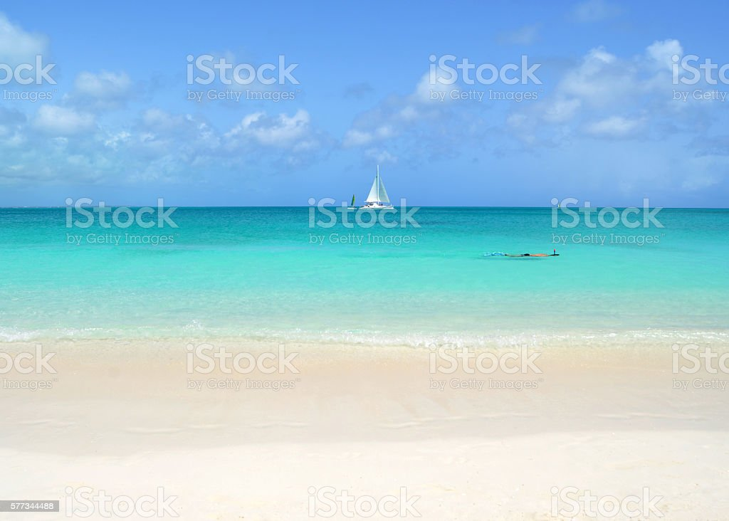 Snorkeling in the Turks and Caicos Islands stock photo