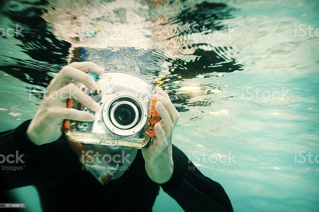 Snorkeling Photographer, Holga Style royalty-free stock photo
