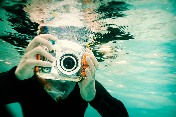 Snorkeling Photographer, Holga Style stock photo