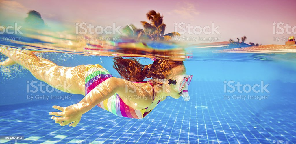 Snorkeling underwater stock photo