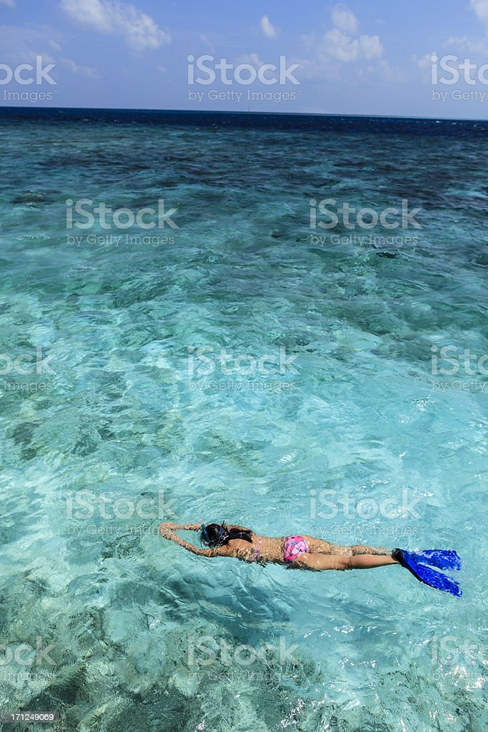 Snorkling during vacation stock photo