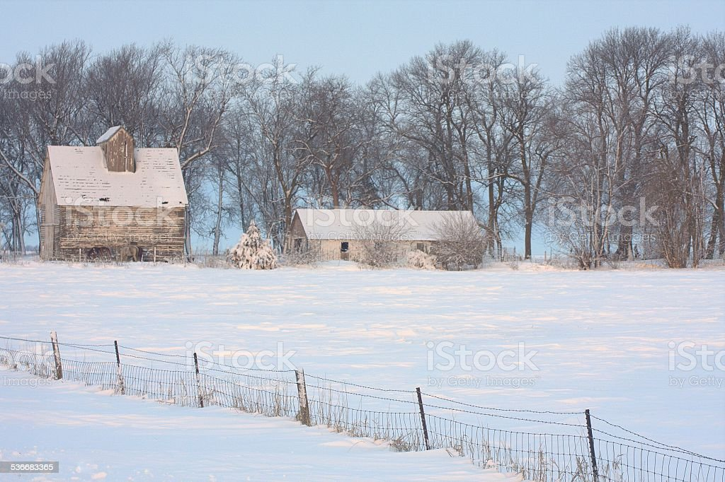 Snow Accents Iowa Corn Crib and Fence stock photo