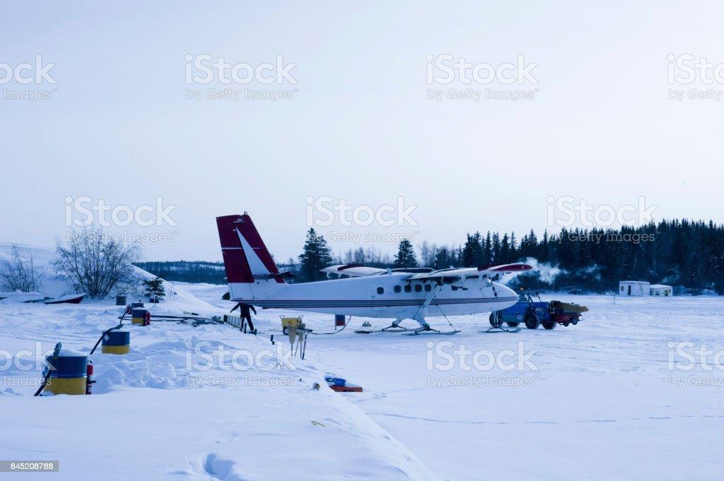Snow airplane stock photo