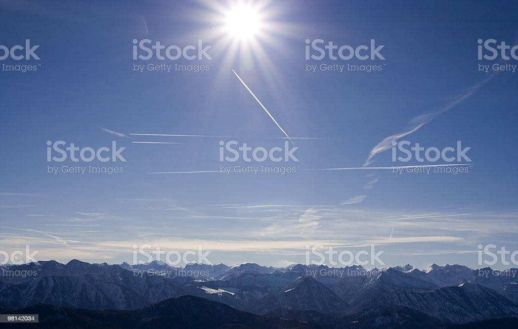 snow alps against blue sun sky royalty-free stock photo