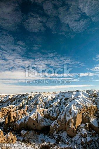 515376634 istock photo Snow and Air Balloon Cappadocia 1146681628