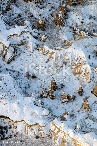 515376634 istock photo Snow and Air Balloon Cappadocia 1146681745
