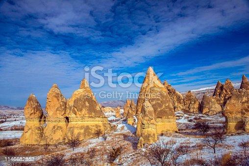 515376634 istock photo Snow and Air Balloon Cappadocia 1146682852