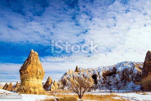 515376634 istock photo Snow and Air Balloon Cappadocia 1146683043
