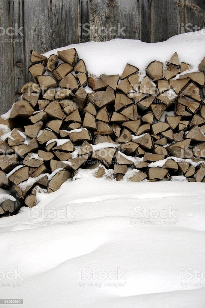 snow and firewood royalty-free stock photo