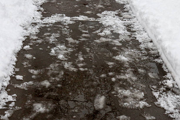 Snow and Ice Covered Pedestrian Walkway