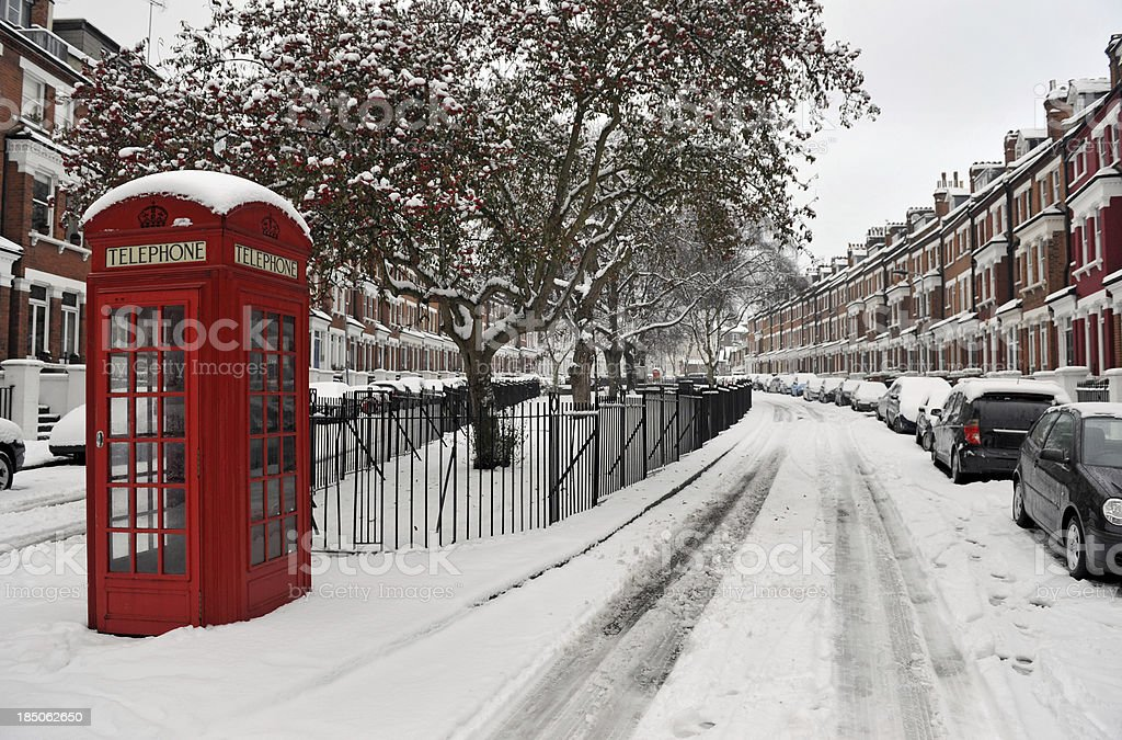 Snow and Phone box stock photo