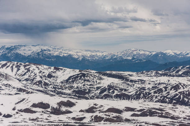 Snow and winter life at the Chilean Andes stock photo