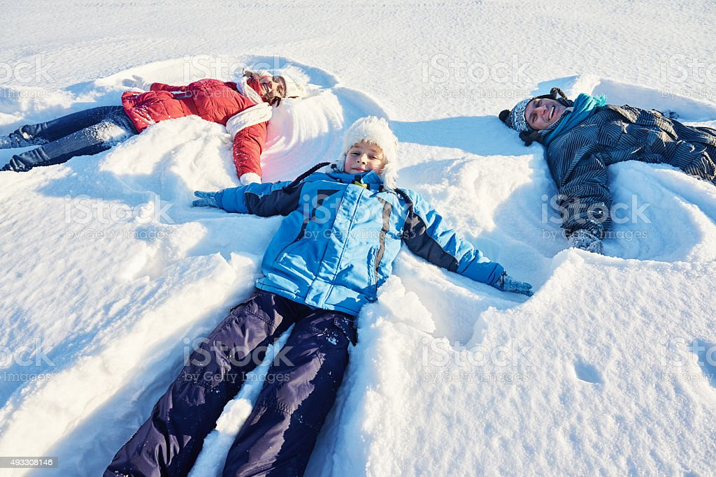 Snow angels stock photo