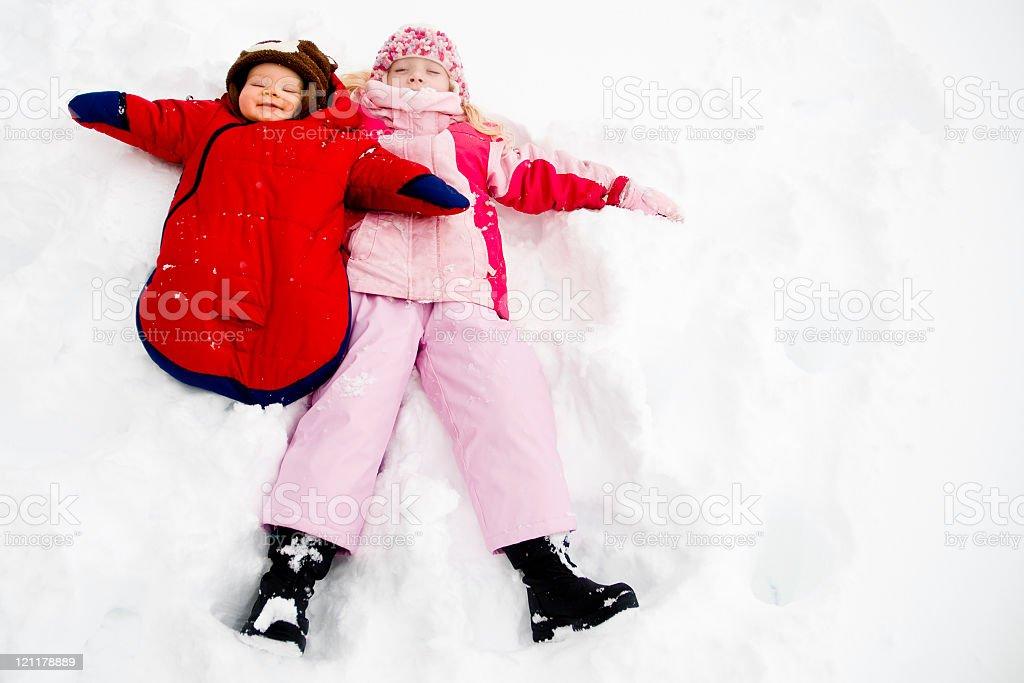 Snow angles stock photo