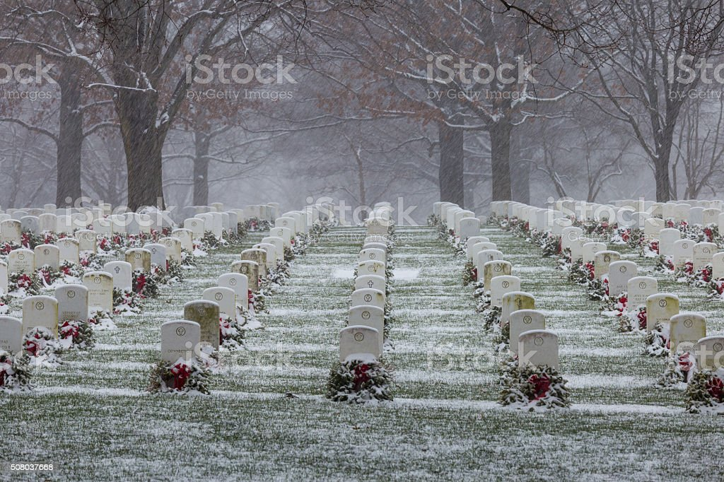 Snow at Arlington National Cemetery stock photo