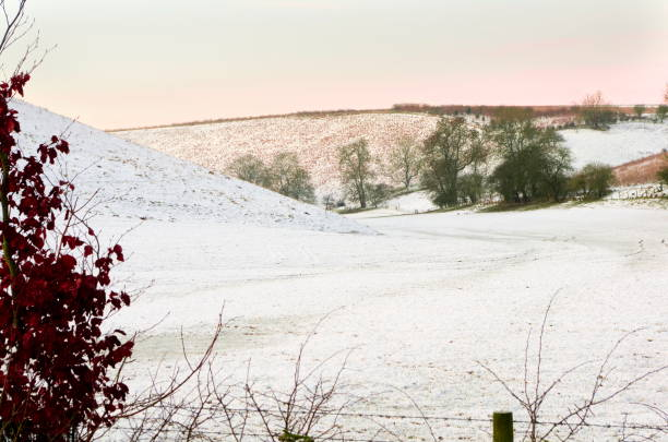 Snow at Brubberdale in the East Yorkshire Wolds stock photo