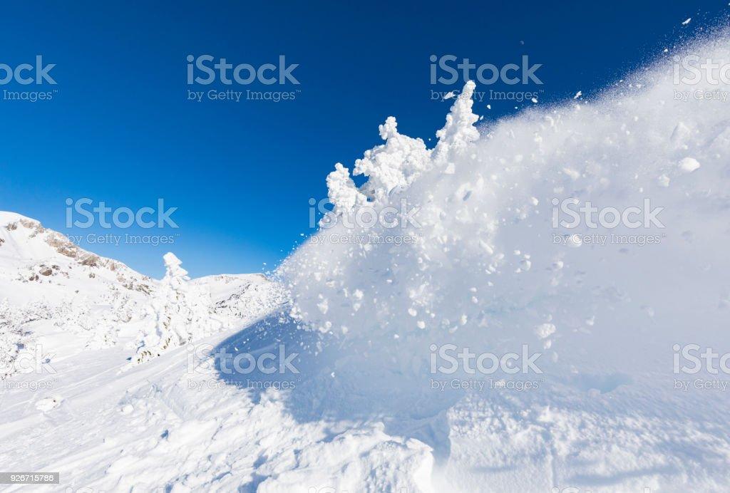 Snow avalanche close up stock photo