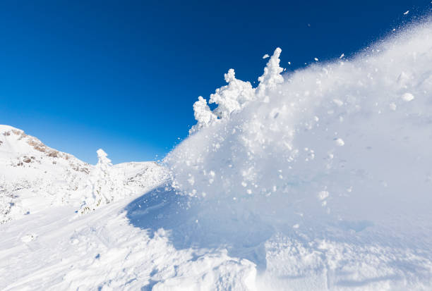 snow avalanche close up - aluxum stock pictures, royalty-free photos & images
