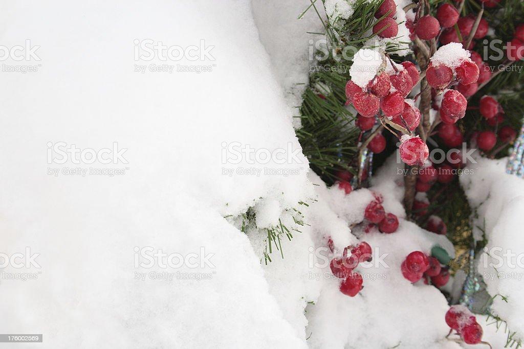 Snow, Berries, garland royalty-free stock photo